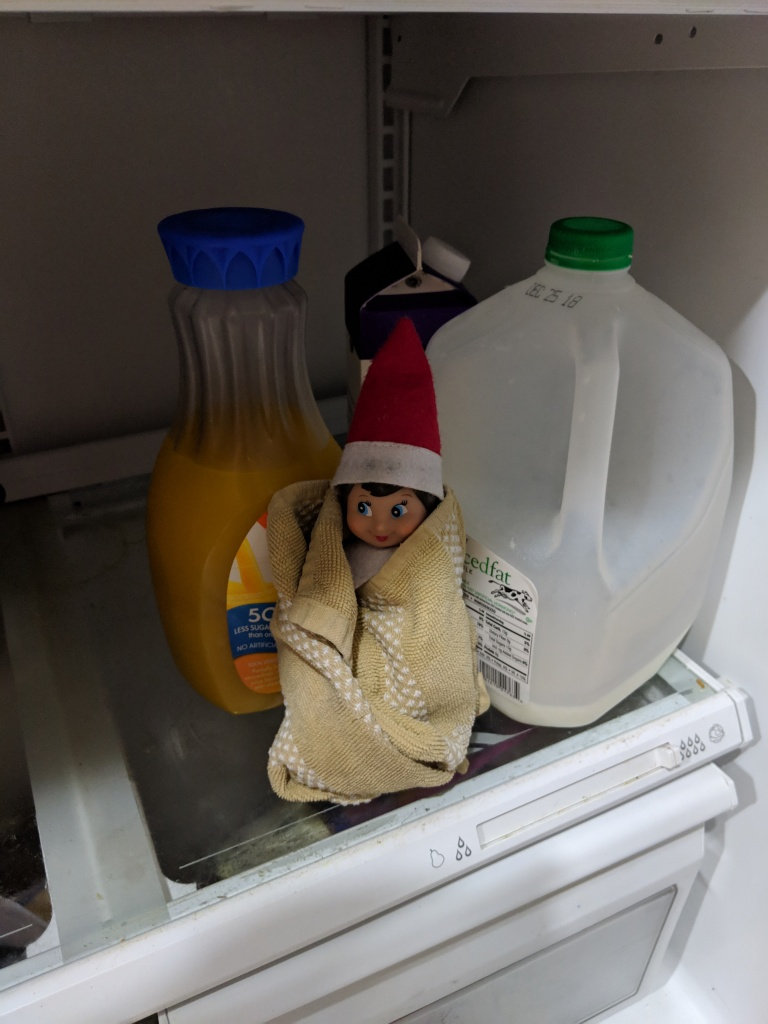 Elf wrapped in a towel sitting the fridge.