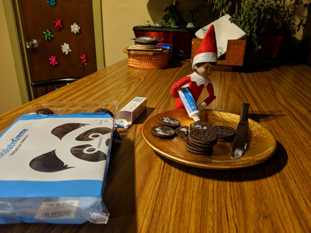 Elf replacing the creme in Oreos with toothpaste!