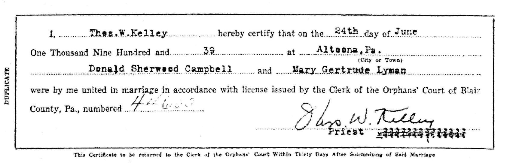 Marriage certificate for Donald Campbell and Mary Gertrude Lyman.